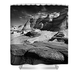 The Bisti Badlands - New Mexico - Black And White Shower Curtain by Jason Politte