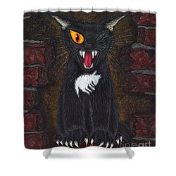 Shower Curtain featuring the painting The Black Cat Edgar Allan Poe by Carrie Hawks