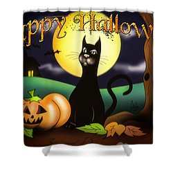 The Black Cat Greeting Card Shower Curtain