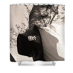 The Black Hats Shower Curtain by Tommy Anderson