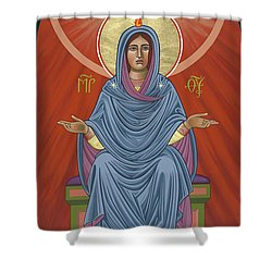 Shower Curtain featuring the painting The Blessed Virgin Mary, Mother Of The Church by William Hart McNichols