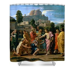 The Blind Of Jericho Shower Curtain by Nicolas Poussin