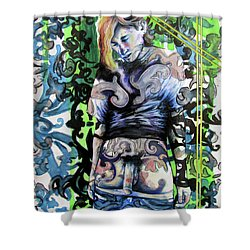 The Blond Bomber  Shower Curtain