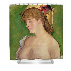 The Blonde With Bare Breasts Shower Curtain by Edouard Manet