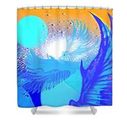 The Blue Avians Shower Curtain by Ute Posegga-Rudel