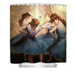 The Blue Ballerinas - A Edgar Degas Artwork Adaptation Shower Curtain