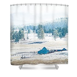 The Blue Barn Shower Curtain