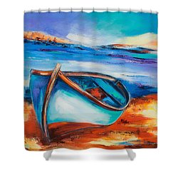 Shower Curtain featuring the painting The Blue Boat by Elise Palmigiani