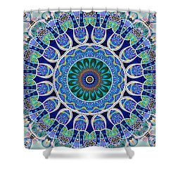 Shower Curtain featuring the digital art The Blue Collective 02a by Wendy J St Christopher