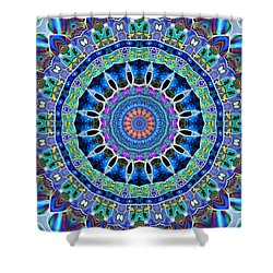 Shower Curtain featuring the digital art The Blue Collective 03a by Wendy J St Christopher