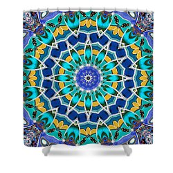 Shower Curtain featuring the digital art The Blue Collective 04a by Wendy J St Christopher