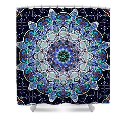 Shower Curtain featuring the digital art The Blue Collective 05a by Wendy J St Christopher