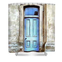 Shower Curtain featuring the painting The Blue Door by Edward Fielding