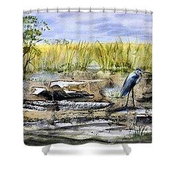 The Blue Egret Shower Curtain
