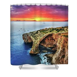 The Blue Grotto At Sunset In Malta Shower Curtain by Stephan Grixti