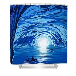 The Blue Grotto In Capri By Mcbride Angus  Shower Curtain by Angus McBride