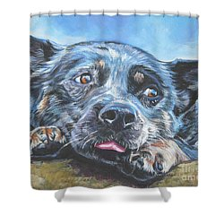 Shower Curtain featuring the painting The Blue Heeler by Lee Ann Shepard