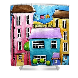 The Blue House Shower Curtain by Lucia Stewart