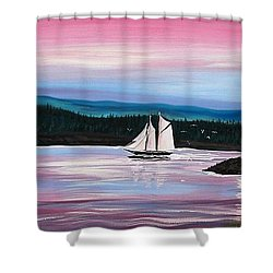 Shower Curtain featuring the painting The Blue Nose II At Baddeck Nova Scotia by Patricia L Davidson