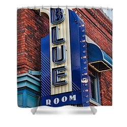 The Blue Room Sign Shower Curtain by Steven Bateson