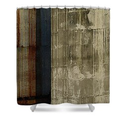 The Blue Stripe On Silo Wall Shower Curtain