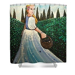 The Blueberry Harvest Shower Curtain
