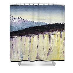 The Bluff And The Mountains Shower Curtain by Carolyn Doe