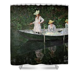 The Boat At Giverny Shower Curtain by Claude Monet