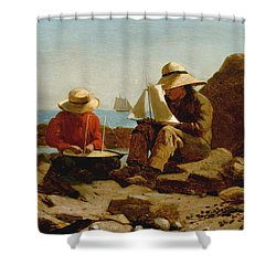 Shower Curtain featuring the painting The Boat Builders - 1873 by Winslow Homer