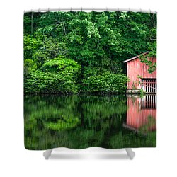 The Boat House At Desoto Falls Shower Curtain by Phillip Burrow