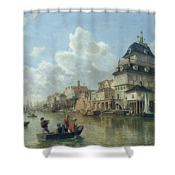 The Boat House At Hamburg Harbour Shower Curtain by Valentin Ruths