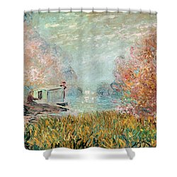 The Boat Studio On The Seine Shower Curtain by Claude Monet