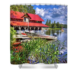 Shower Curtain featuring the photograph The Boathouse At Covewood by David Patterson