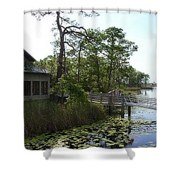 The Boathouse At Watercolor Shower Curtain by Megan Cohen