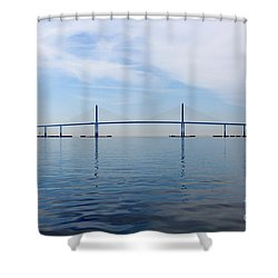 The Bob Graham Sunshine Skyway Bridge Tampa Bay Shower Curtain by Louise Heusinkveld
