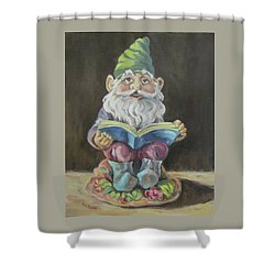 The Book Gnome Shower Curtain by Cheryl Pass
