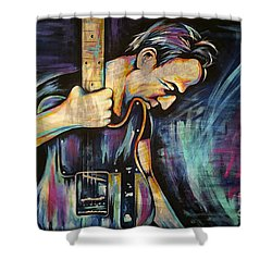 The Boss Bruce Springsteen Shower Curtain by Amy Belonio
