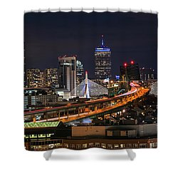 The Boston Skyline Boston Ma Full Zakim Shower Curtain