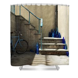 The Bottle Collector Shower Curtain by Cynthia Decker