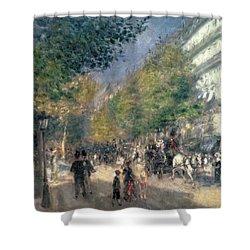 The Boulevards  Shower Curtain by Pierre Auguste Renoir
