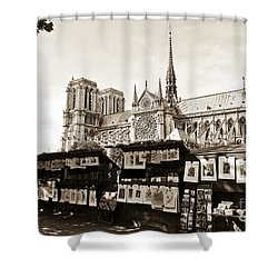 The Bouquinistes And Notre-dame Cathedral Shower Curtain by Perry Van Munster