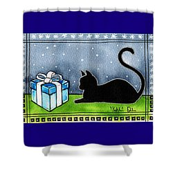 The Box Is Mine - Christmas Cat Shower Curtain