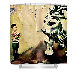 The Boy And The Lion Graffiti Creator,street-art Graffiti,street-art,graffiti Art Street,banksy Art, Shower Curtain