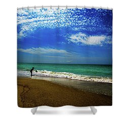 Shower Curtain featuring the photograph The Boy At The Beach  by John Harding