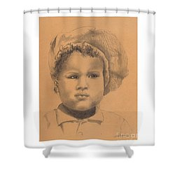The Boy Who Hated Cheerios -- Portrait Of African-american Child Shower Curtain
