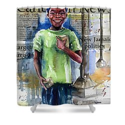 The Boy Who Sells Peanuts Shower Curtain