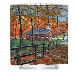 The Brick Country Schoolhouse Shower Curtain