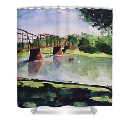 Shower Curtain featuring the painting The Bridge At Ft. Benton by Andrew Gillette