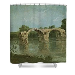 The Bridge At Ambrussum Shower Curtain by Gustave Courbet