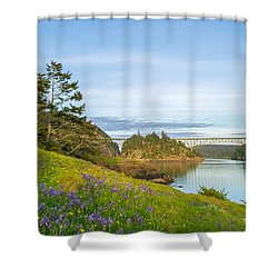 The Bridge At Deception Pass Shower Curtain by Ken Stanback
